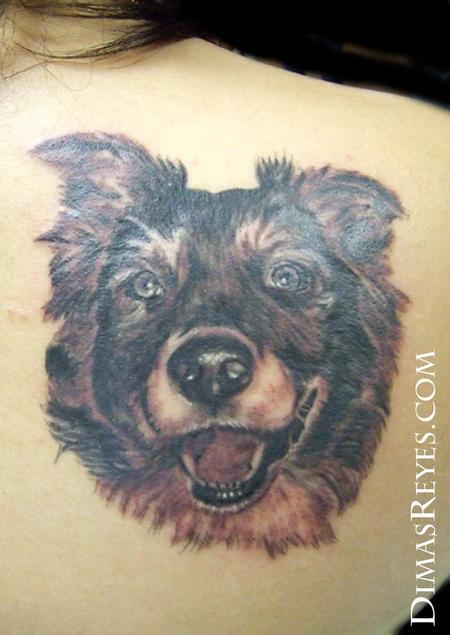 Dimas Reyes - Black and Grey Dog Portrait Tattoo