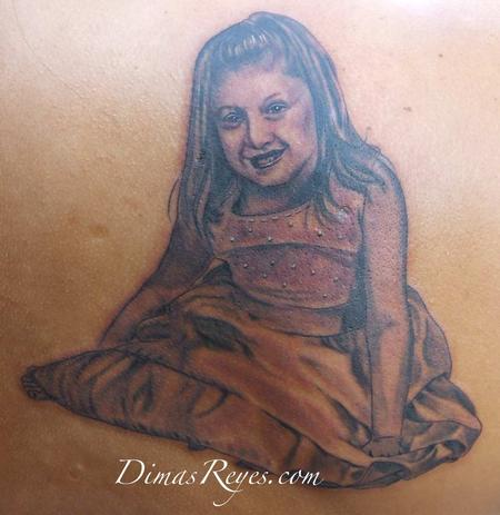Dimas Reyes - Black and Grey Girl Portrait with Dress Tattoo