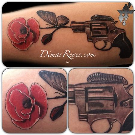 Dimas Reyes - Black and Grey Pistol and Flower tattoo