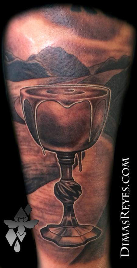 Dimas Reyes - Black and Grey Psalm 23 tattoo