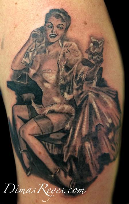 Dimas Reyes - Black and Grey Vintage Pinup tattoo