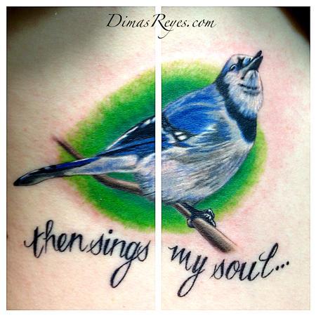 Dimas Reyes - Color Song Bird tattoo