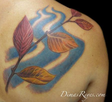 Dimas Reyes - Color Branch with Leaves Family Tattoo