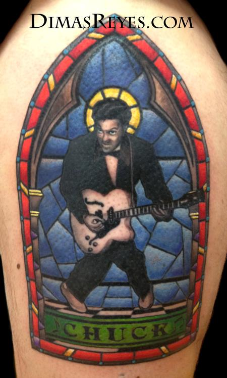 Dimas Reyes - Color Chuck Berry Stained Glass tattoo