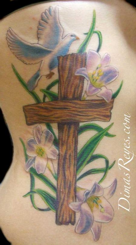 Wooden Cross Tattoos with Flowers
