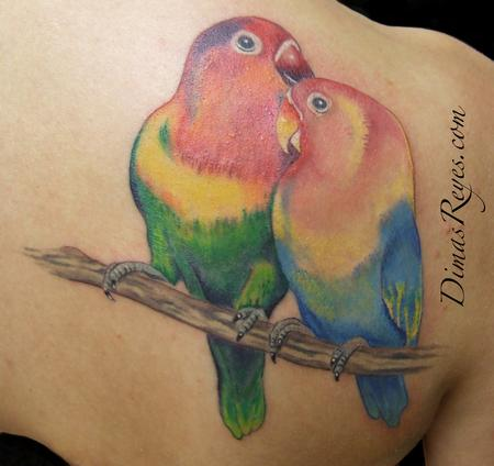 Dimas Reyes - Color Lovebirds tattoo