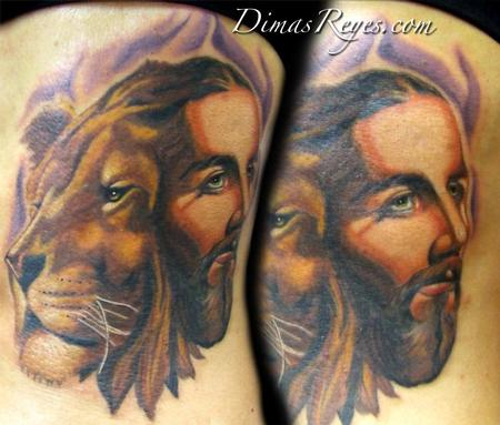 Dimas Reyes - Color Jesus and Aslan/ Lion Tattoo