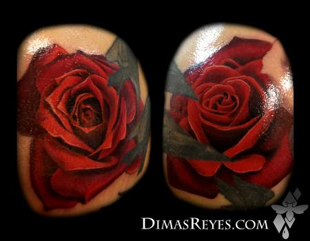 Color Realistic Rose Tattoos Design Thumbnail