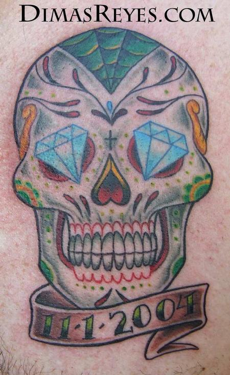 Dimas Reyes - Color Day of the Dead Skull Tattoo