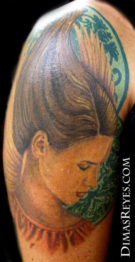 Dimas Reyes - Full Color Angel Portrait Tattoo