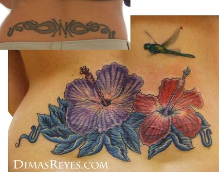 Dimas Reyes - Color Hibiscus Flowers with Dragonfly Tattoo