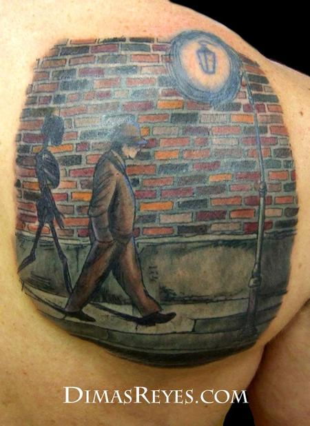 Dimas Reyes - Color Shadow Man in Alley Tattoo