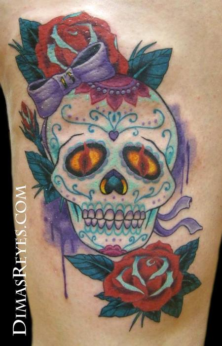 Dimas Reyes - Traditional Color Sugar Skull with Roses Tattoo