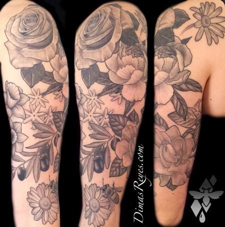 Black and Grey Flowers Tattoo Design Thumbnail