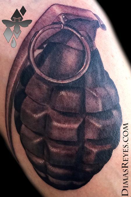 Realistic Black and Grey Grenade Tattoo Design Thumbnail