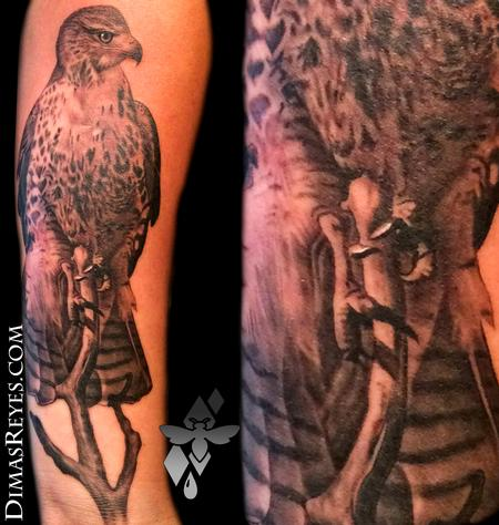 Dimas Reyes - Realistic Red Tailed Hawk Tattoo