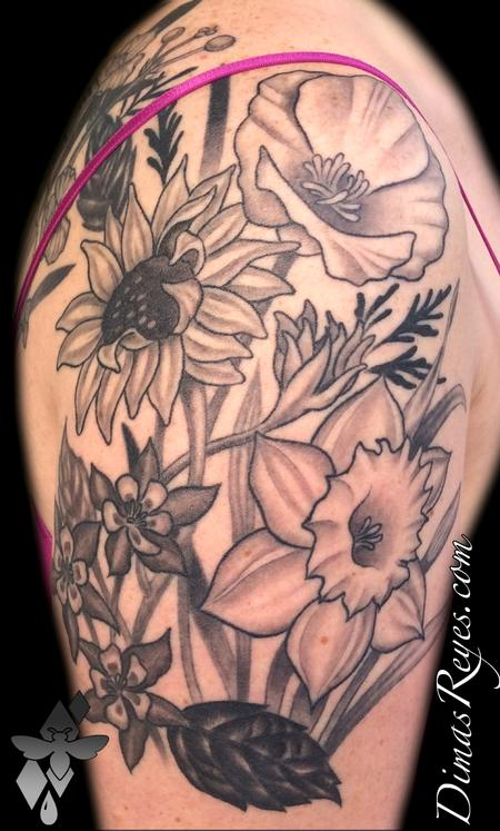 Dimas Reyes - Black and Grey Wild Flowers Tattoo