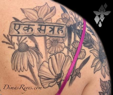 Dimas Reyes - Black and Grey Wild Flowers Tattoo