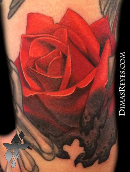 Tattoos - Burning Rose Tattoo - 117852