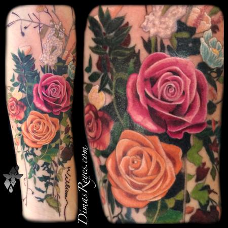 Realistic Color Flower Bouquet Tattoo Design Thumbnail
