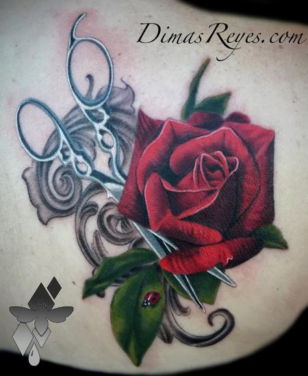 Dimas Reyes - Realistic Color Rose Shears and Ladybug with Filligree
