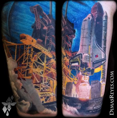 Space Shuttle Nasa Launch Tattoo Design Thumbnail