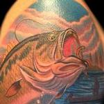 Tattoos - Color Realistic Bass Fishing Tattoo - 100732
