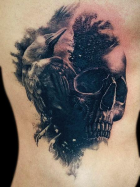 Tattoos - crow skull - 92157