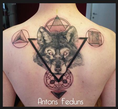 Alchemic Circles and DotWolf Tattoo Design Thumbnail