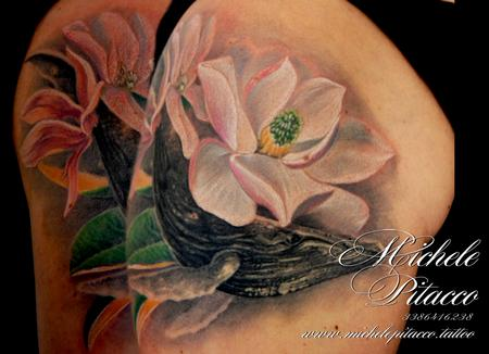 Tattoos - Whale between magnolias - 127626