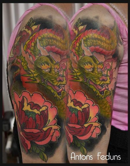 Green Dragon and Crimson Peony Tattoo Design Thumbnail