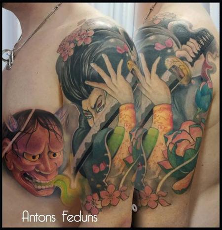 Bourdeaux Hannya and Warrior Tattoo Design Thumbnail