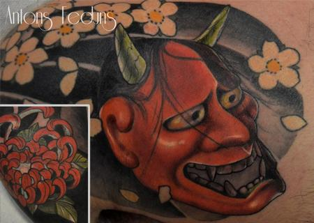 Orange Hannya  Tattoo Design Thumbnail