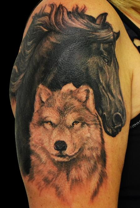 horse with wolf Tattoo Design Thumbnail