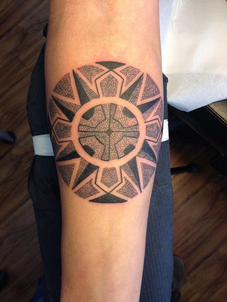 Geometric round dotwork Tattoo Design Thumbnail