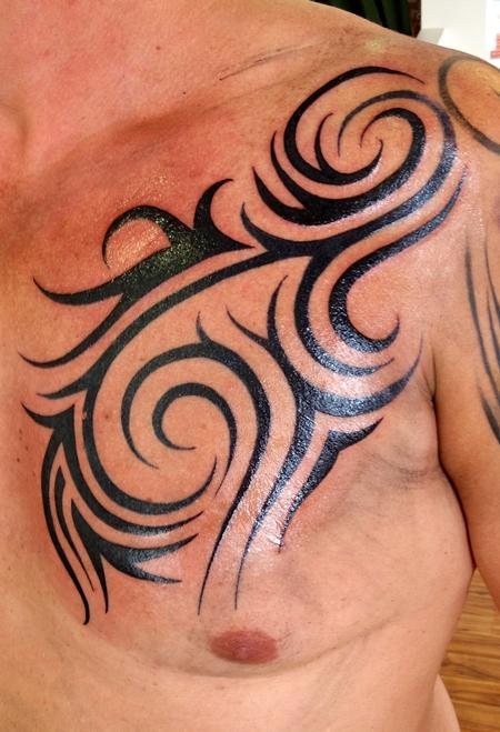 Tattoos - Tribal on left chest - 93334