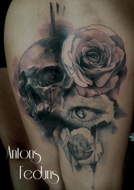 Skull Roses Eye Tattoo Design Thumbnail
