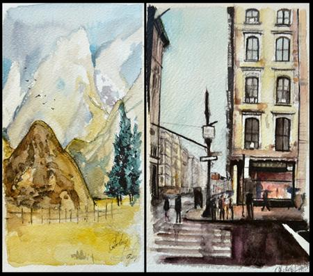 Tattoos - Watercolors Landscape/City - 95519