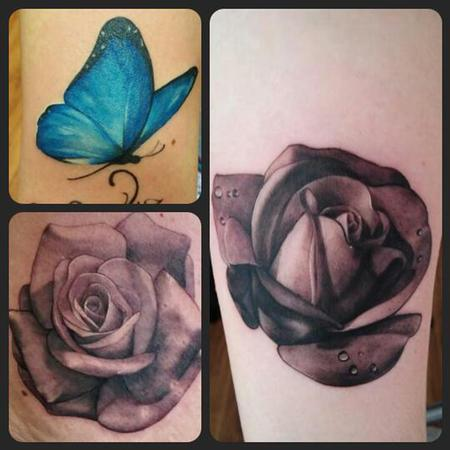 Blue butterfly and roses Design Thumbnail