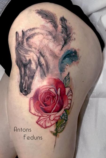 Horse, feathers and rose Tattoo Design Thumbnail
