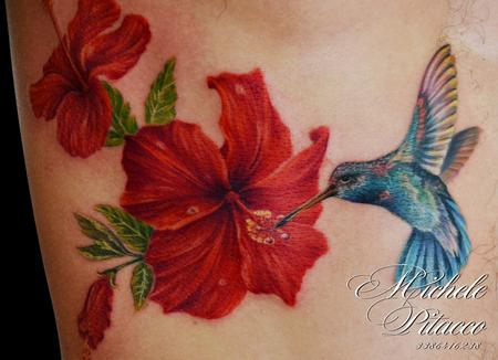 hummingbird with hibisus Design Thumbnail