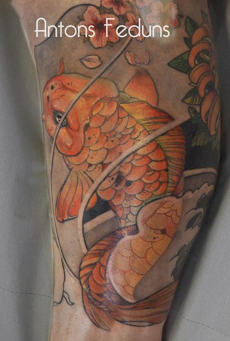 Orange Koi fish Tattoo Design Thumbnail