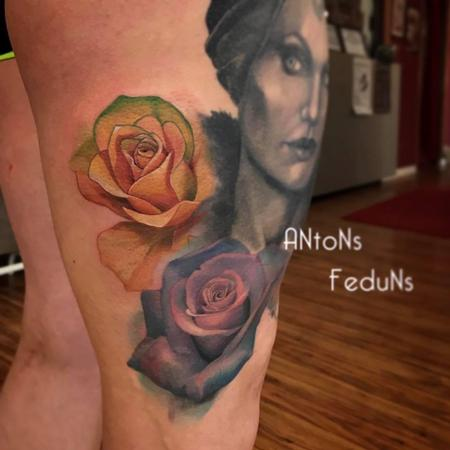 Tattoos - Orange and purple rose - 128343