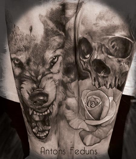 Wolf Skull and Rose Tattoo Design Thumbnail