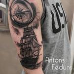 Ship and sea Tattoo Design Thumbnail