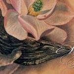 Whale between magnolias Tattoo Design Thumbnail