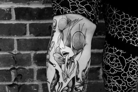 Tattoos - Pointillism Woman  - 128421