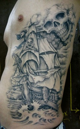 Pirateship Rib Tattoo