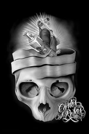 Tattoos - Machine Skull Art - 38589