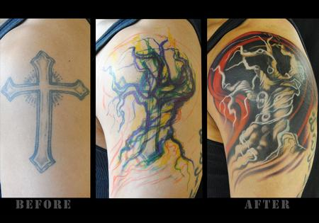 Tattoos - Tree Cover-up  - 73312